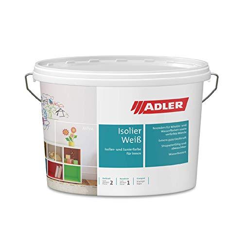 Aviva Isolier-Weiß 1 Liter, Nikotinfarbe und Renovierfarbe, hochwertige Wandfarbe weiss gegen Flecken mit hoher Deckkraft