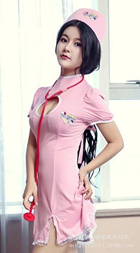 Reizwäsche Damen-Reizwäsche Sexy Dessous, Cremiges Pinkes Kleid, Krankenschwesteruniform, Leidenschaftlicher Anzug, Stewardess, Pink, Einheitsgrösse