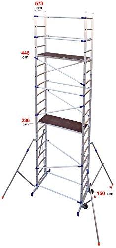 Andamio de aluminio, mod.Pinna Clic Clac, altura de trabajo: 6,46m