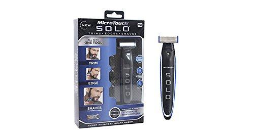 Microtouch Solo - Máquina de afeitar multiusos, de precisión con cuchilla doble de acero inoxidable reemplazable e iluminación LED integrada