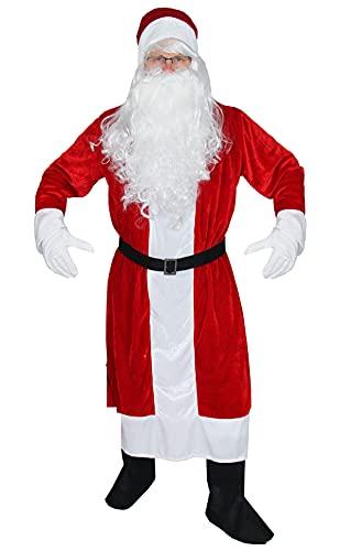 Foxxeo 6-teiliges Premium Weihnachtsmann Kostüm mit Mantel für Herren - Größe M-XXXXL, Größe:XL/XXL