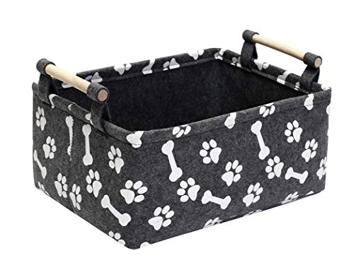 Geyecete Cesta de almacenamiento plegable para perros, juguetes para perros, con mango de madera, impresión de juguetes para mascotas, fieltro suave, organizador de cesta, color gris
