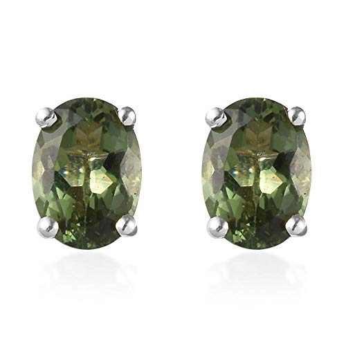 AA Natural Green Apatite Stud Earrings with Push Back in 925 Sterling Silver 1.75 Ct.