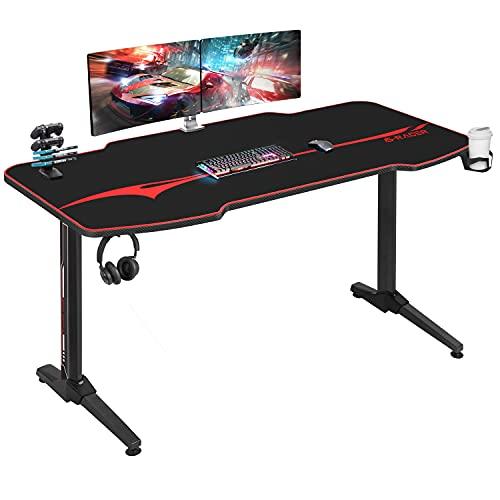 Homall Gaming Tisch 140 cm Gaming Schreibtisch Gamer Computertisch Ergonomischer PC Tisch mit Getränkehalter und Kopfhörerhalter T-Förmiger (Schwarz, 140 x 52 cm)