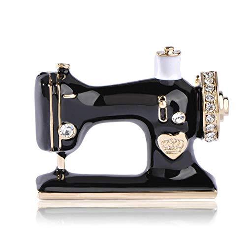 QSCVHU Mayor 55% de Descuento en Forma de Máquina de Coser Esmalte Negro Broches de Cristal para Las Mujeres Traje Bufanda Decoración Accesorios Joyería