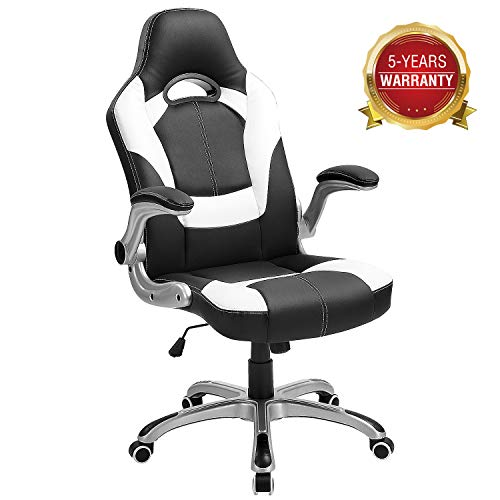 Computer Gaming Chair, Ergonomic Swivel Executive Office Chair with Flip-up Arms, High-Back Leather Task Drafting Chair Hold up to 350LBS(White)
