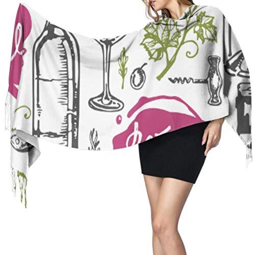 Disfrute del hermoso chal de vino tinto de arte retro para mujer, bufanda larga, bufanda para mujer, 77x27 pulgadas / 196x68cm, grande, suave, pashmina extra cálida