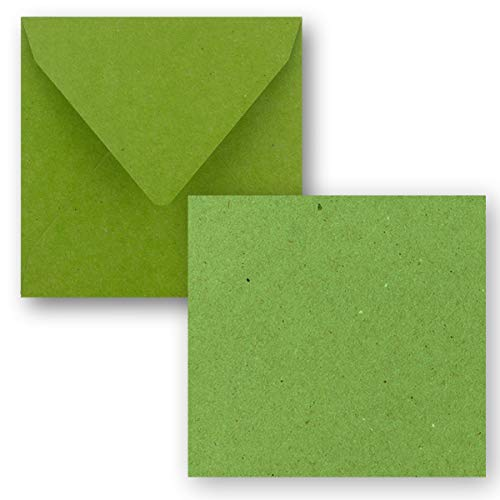 Quadratisches Einzelkarten-Set - 15 x 15 cm - mit Brief-Umschlägen - Kraftpapier Hellgrün- 25 Stück - für Grußkarten & mehr - FarbenFroh by GUSTAV NEUSER