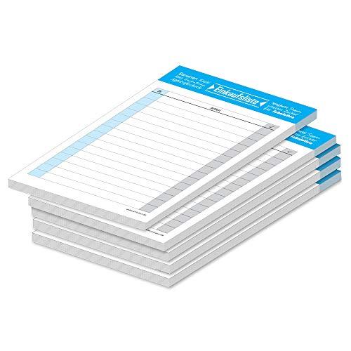 """PRICARO Einkaufsliste""""Typo"""", magnetisch, blau, A6, 25 Blatt, 5 Stück"""