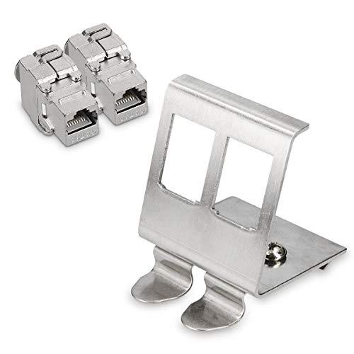 kwmobile Keystone Modul und Hutschienenadapter Set - passt auf genormte Hutschiene - 2X CAT 6A Modul 1x Halter - RJ45 Buchse geschirmt - werkzeuglos