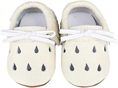 Vorgelen Zapatos de Cuero para Bebé Zapatillas de Piel para niños y niñas Primeros Pasos Zapatos Pantuflas Infantiles Patucos de Suela Suave - Blanco 12-18 Meses