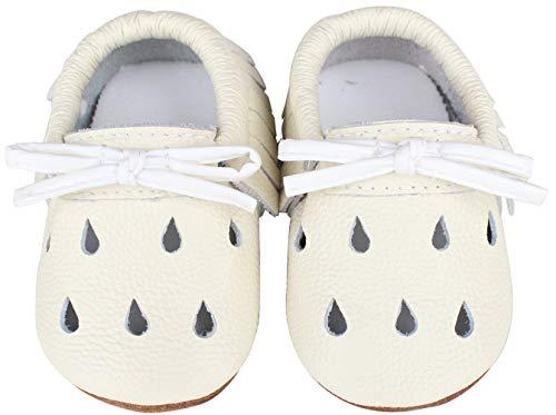 Vorgelen Baby Weiche Leder Lauflernschuhe Junge Mädchen Krabbelschuhe Kleinkind Lederpuschen Babyhausschuhe Enfants Rutschfesten Lernlaufschuhe - Weiß Regentropfen 6-12 Monate
