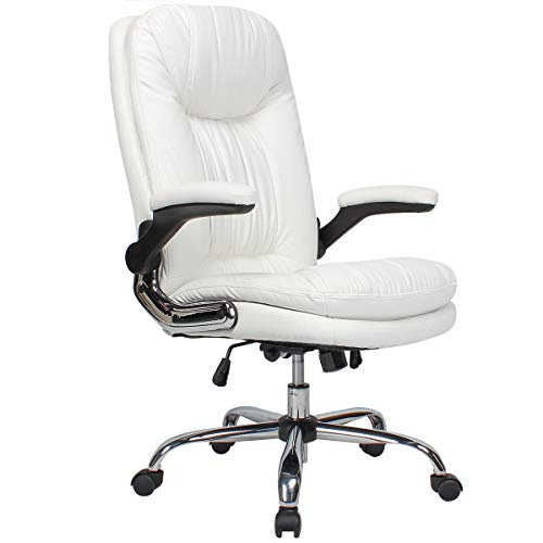 B2C2B Ergonomic Office Chair - High Back Desk Chair with Flip-Up Arms and Comfy Thick Cushion Leather Computer Chair Big and Tall 350lb Weight Capacity, White chair gaming white