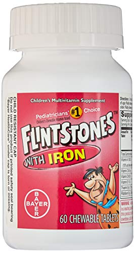 Flintstone Vit W/Iro Size 60s Flintstones Childrens Multivitamin Supplement W/ Iron Chewable Tabs 60 Ct (Pack of 2)