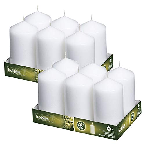 BOLSIUS Set of 12 White Pillar Candles - 3x6 inch Unscented Candle Set - Dripless Clean Burning Smokeless Dinner Candle - Perfect for Wedding Candles, Parties and Special Occasions