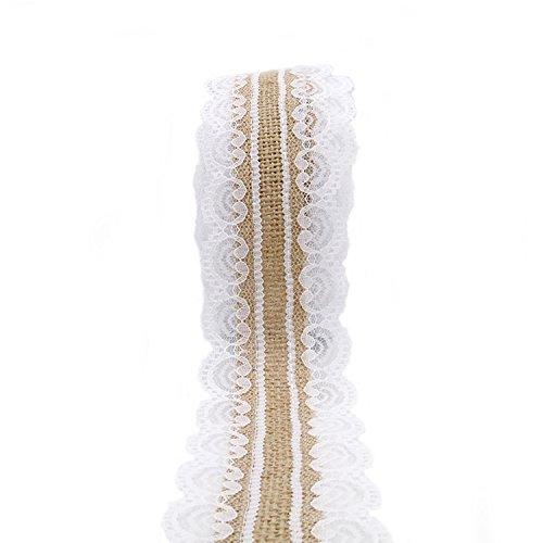 G2PLUS 10M Juteband mit Spitze, 2.5CM Jutestreifen Dekoband Perfekt zum Dekorieren f¨¹r Hochzeiten, Geburtstagen und vielen weiteren