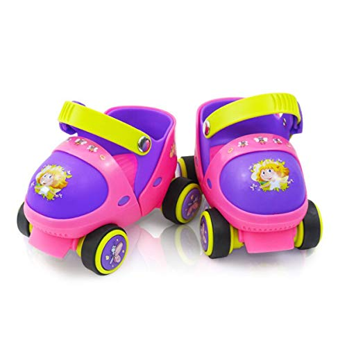 Kid's Children's Boys Girls Adjustable Speed Quad Roller Skate Shoes with Safe Lock Mode for Beginners (Pink)