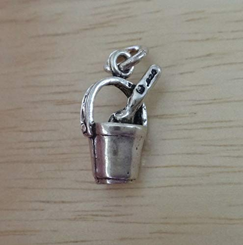 Sterling Silver 3D 16x10mm Sand Pail/Bucket & Shovel Beach Charm by Wholesale Charms