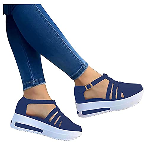 Wedge Sandals for Women Casual Summer Strappy Cut Out Closed Toe Sandals Outdoor Travel Comfort Chunky Sandals Platform Shoes