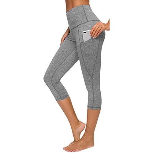 Shinehua Capri 3/4 sportbroek voor dames, yoga, fitness, leggings, hoge taille, joggingbroek, trainingsbroek met tas, korte loopbroek