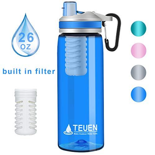 TEUEN Wasserfilter Trinkflasche 770ml Wasserflasche mit Filter Entfernt Bakterien & Protozoen, Camping Wasseraufbereitung Trinkwasser Portabler Wasserfilter Outdoor Survival Trinkwasserfilter (Blau)