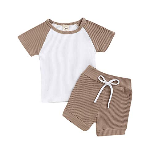 Baby Boy Girl Outfit Kids Boy Knitted Short Sleeve Top with Shorts 2 Pieces Clothes Set (Coffee, 2-3 Years)