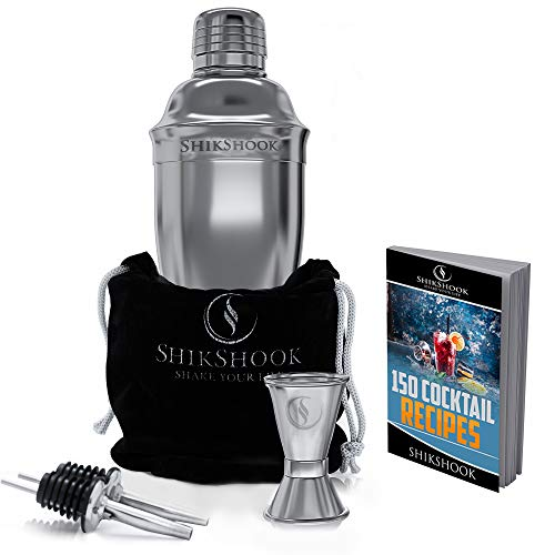 SHIKSHOOK Cocktail Shaker Set - Includes Martini Shaker, Double Jigger 1oz\2oz And 2 Liquor Pourers...