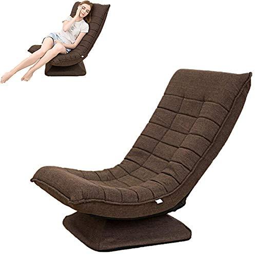 Teenager360 °drehbarer Boden Spielstuhl,klappbarer Relaxsessel 3winkelverstellbarer Rückenlehne 95°-140°Polsterstuhl Hochdichter Schwamm abnehmbarer Leinenstuhlbezug bis180kg belastbar Lazy Sofa/braun