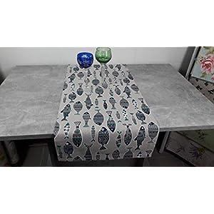 """ASTRA Tischläufer""""Fische"""" Dekostoff, Mischgewebe, Leinenoptik, grafisches Muster, Tier-Muster beige-blau-grün-weiß, 130/42 cm"""