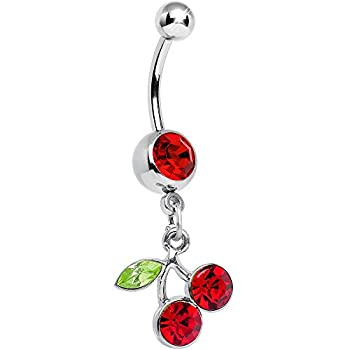 Body Candy No 2 Red Dangling Cherry Belly Button Ring