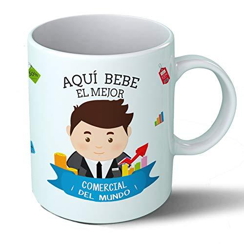 Planetacase Taza Desayuno Aquí Bebe el Mejor Comercial del Mundo Regalo Original comerciales Ceramica 330 mL