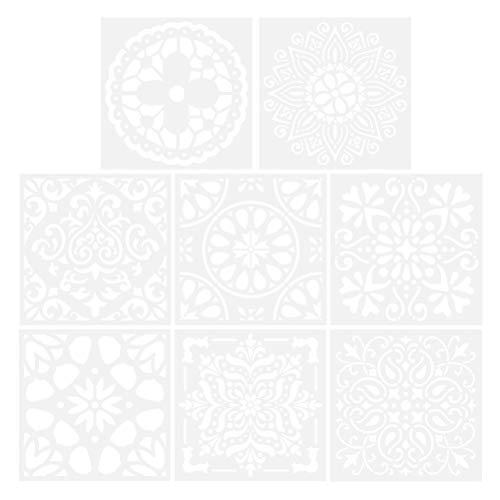 SUPVOX 8pcs plantillas de mandala plantillas de pintura reutilizable plantilla para DIY muebles de madera de azulejo de pared