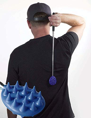 "Cactus Back Scratcher On a Stick -Back-Neck-Head-beard-body-Pets-16 Spikes per Side -Dual Sided-Aggressive & Milder Spikes-Strong ABS Plastic - 25"" Full to 8.5"" Compact - Sturdy Metal Retractable"