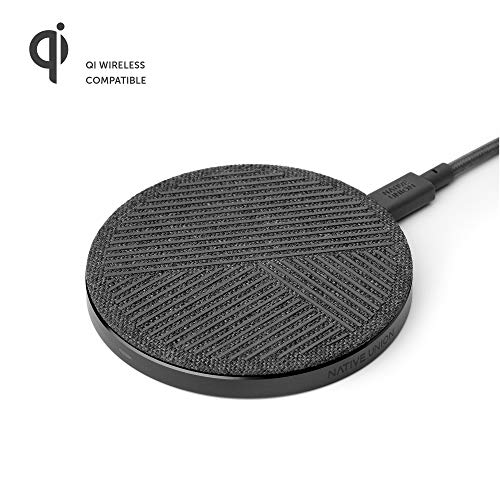 Native Union Drop Cargador Inalámbrico - [Qi Certified] 10W Pad Antideslizante de Carga Rápida para Dispositivos Inalámbricos - Compatible con iPhone XS/XS Max/XR/X/8/8 Plus (Slate)