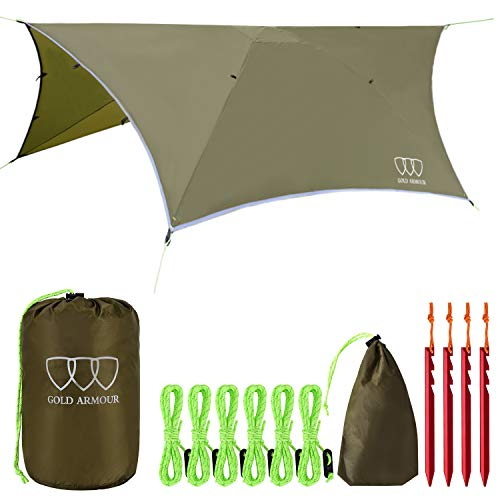 Gold Armour Rainfly Tarp Hammock, 14.7ft/12ft/10ft/8ft Rain Fly Cover, Waterproof Ultralight Ripstop Fabric, Survival Gear Backpacking Camping Tent Accessories (OD Green, 12ft x 10ft HEX)