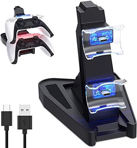 PS5 Dualsenseワイヤレスコントローラー用充電器、デュアルUSB CポートとLEDインジケーター付き充電ステーション、Playstation 5 Dualsense用充電器スタンドドック,黒