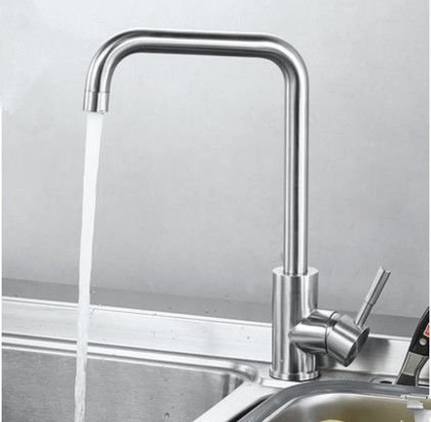 Commercial Single Lever Pull Down Kitchen Sink Faucet Brass Constructed Polished 304 Stainless Steel Kitchen Hot and Cold Faucet Sink Sink Sink Sink Heating and Cooling Faucet