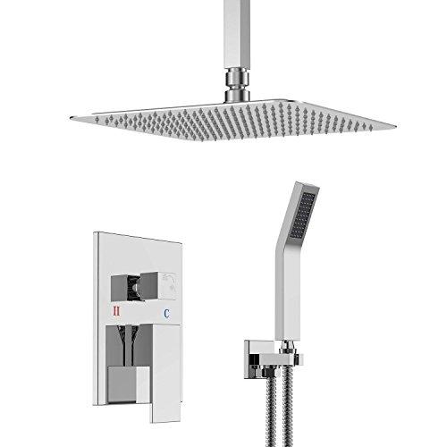 Unterputz Duschsystem Luxus Duschset mit Decke Installieren Regendusche Kopfbrause Handbrause Poliert Chrom SRSS-C1003
