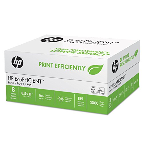 HP 216000 Copy Paper, 16lb, 92Brt, 8-1/2-Inch x11-Inch, 625Shts, 8RM/CT, WE