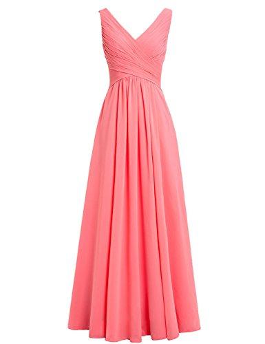 HUINI Brautjungfernkleider Rückenfrei Lang V-Ausschnitt Chiffon A-Linie Abendkleider Ballkleider Festliche Kleider Hochzeit Koralle 50
