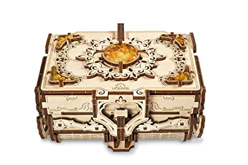 UGEARS 3D Wooden Puzzle Box - 3D Puzzle Amber Wooden Box Wooden Model Kits for Adults and Teens - Laser-cut Mechanical Model Construction Kit - Exclusive Box with Amber Ideal Birthday