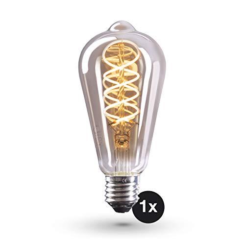 CROWN LED Bombilla Edison Smoky, E27, Cristal ahumado, Regulable, 4W, 2200K, luz cálida, 230V, SY17, Iluminación de Filamento antiguo con apariencia retro vintage, Clase de energía A+