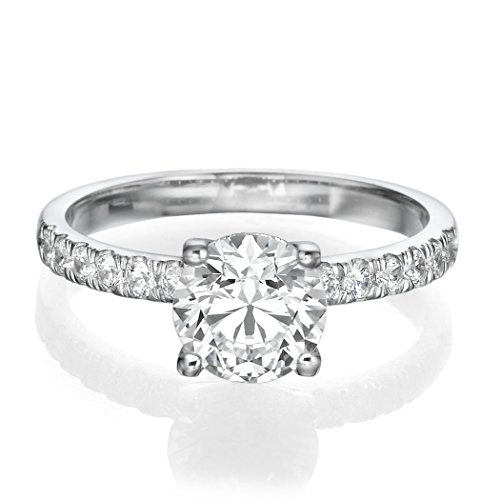 1 CT Unique Engagement Ring made with 14ct White Gold Set with a H/SI1 (Clarity Enhanced) Round Cut Main Stone