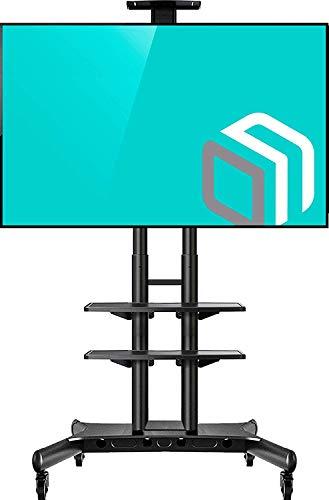 """ONKRON TV Mobil Ständer für 55\"""" - 80\"""" Zoll OLED LCD LED 4K 8K Plasma Bildschirme Rollbar Fernsehtisch TV-Standfuss mit AV-Ablagen VESA 200x200 bis 800x500 mm TS1881 Schwarz"""