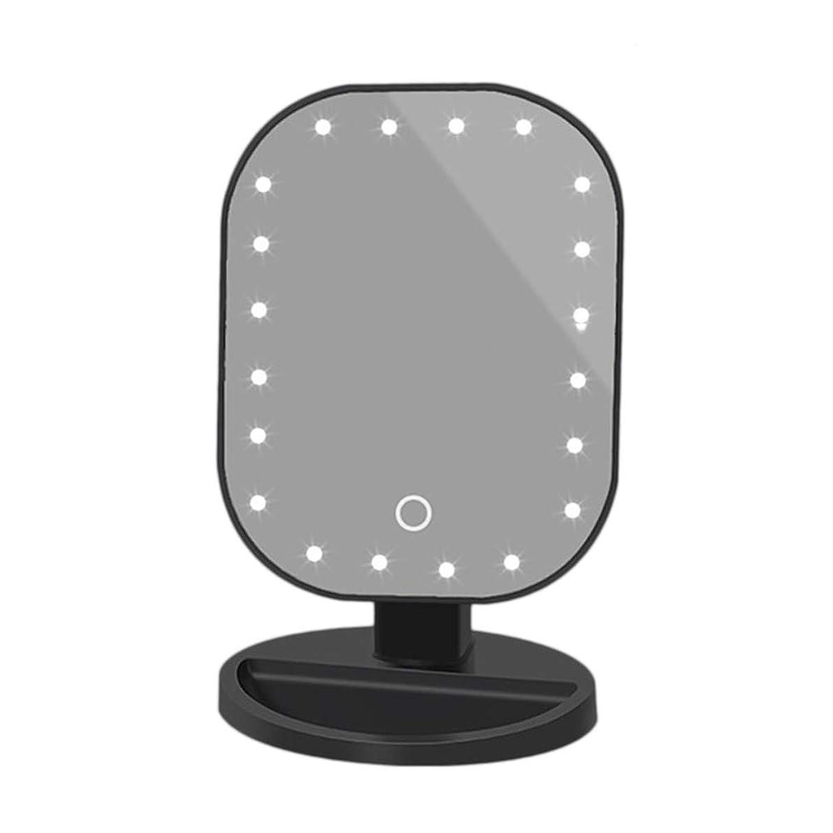 プレミア化粧連鎖Lurrose LED化粧鏡化粧鏡タッチスクリーン美容ミラーUSB電源付き美容ミラー収納トレイ付(電池なし)