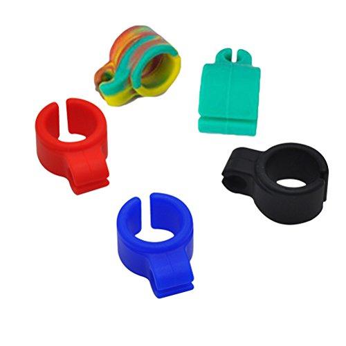Healifty Zigarettenhalter Ring Silikon 5 Stücke (Rot Grün Blau Schwarz und Multicolor)