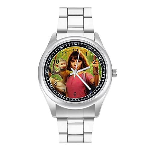 Reloj de pulsera Dora The Explorer con una atmósfera simple y hermosa, estilo deportivo, estilo deportivo, de negocios, correa de acero