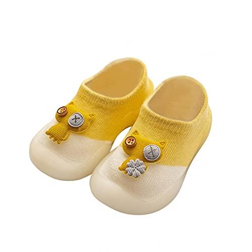 KLGR Zapatos de punto para bebé, calcetines para niñas, zapatos para aprender a caminar, antideslizantes, suelo suave, calcetines de suelo para interiores, amarillo, 22