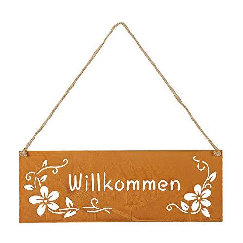 levandeo Schild Willkommen 25x9cm Außen Garten-Deko Rost Blumen Metall Türschild Wandbild Außendeko