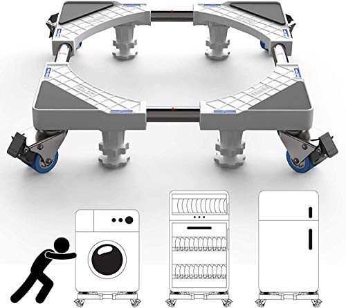 DEWEL Base Regolabile per Lavatrice con Ruote 44.8-69cm Supporto per Frigo Ideale per Spostare Oggetti e Mobili Pesanti